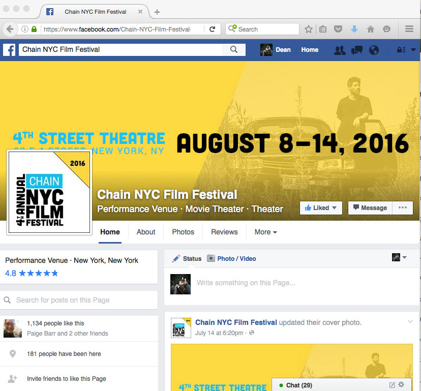 Chain NYC Facebook page features Dean Temple from Here Lies Joe